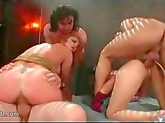 Bisexual asian hookers sharing two big dicks