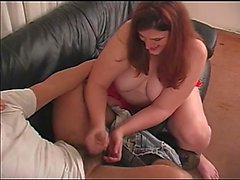Fat redhead wife Cassie puts her fabulous handjob skills into action