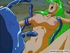 Hentai monster tentacle cocks gangbanged in the outdoors