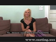 Casting Innocent blonde takes first time facial in casting
