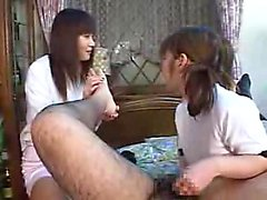 Nerdy guy has a gang of lustful Oriental girls blowing his
