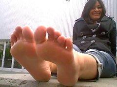 Brunette foot goddess