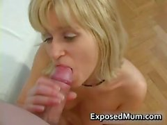 Good looking blond mum sucks boner