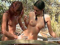 Lesbo Natasha Shy fucking with girlfriend in the garden