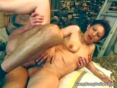 Horny MILF with small tits blows cock