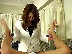 Japanese Doctor In Glasses Uses Strap on