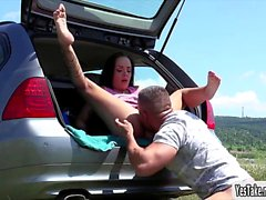 Stranded Angelina Wild ready to get fucked inside the car