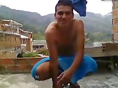 Sexy Colombian Boy Cums Outside,On The Roof Of His House