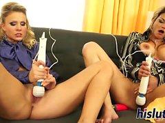 Two sexy sluts pleasure their wet cunts