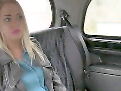 Blonde in stockings fucked in fake taxi in public
