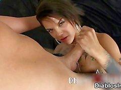 Sexy tattooed slut goes crazy sucking part4