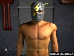 3d busty Superheroflicka blir borrad djupt