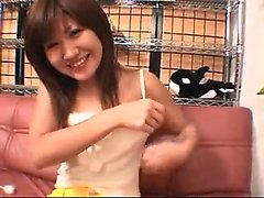 Adorable Japanese babe with tiny tits works her hands on a