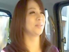 Picked up asian mature milf grabs cock
