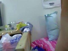 Two blonde coeds enjoying fucking on bed
