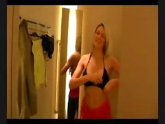 Blonde tries on a bra and gets a cock to eat in the dressing room