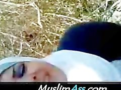 Muslim Arabian Lady in White Hijab sucks sacred 3 inch Arab Dick