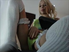 Breathtaking blonde Teen Shemale on Cam