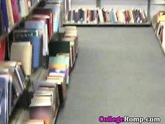 Pretty College Girlfriend Sucking Dick In Campus Library