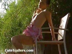 Beautiful thin girl posing in a wild
