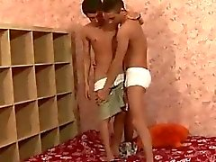 Hot teen gay couple in hardcore action