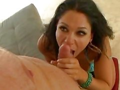 Heavy chested dark haired pornstar sucks cock in 69