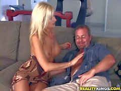 Slender MILF with pierced minge takes on meaty sausage