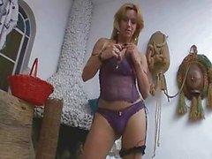 Foxy brazilian shemale tugging on her hard co