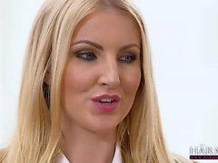 Hot girls share a dildo in front of female teacher