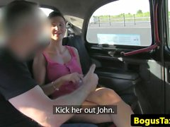 Euro amateur fucked hard on backseat of taxi