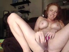 Busty Redhead Babe Plays with Two Toys on Webcam HD