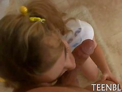 Cute teen with pig tails loves sucking dick