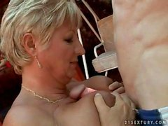 Busty grandma getting fucked hard outdoor