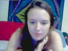 skinny brunette teen showing her shaved tight cunt on webcam
