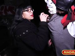 Geeky German chick with glasses gets picked up and drilled