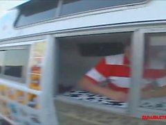 icecream truck teen in knee high white socks get long white