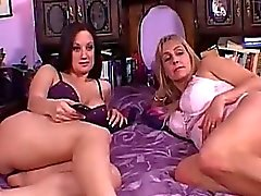 Horny old lesbian granny savoring sweet young brunette panty