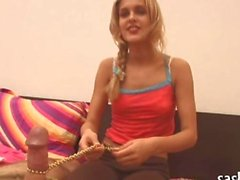 Peachy blonde sweetie dives in for a bj