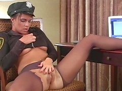 pantyhose masturbating in cop uniform