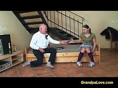 teen deepthroat on grandpa cock