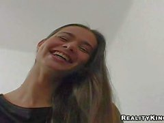Shy long haired Amateur teen gets filmed in close up