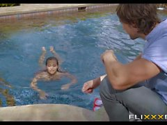 Sucked off by Poolside Teen Babe
