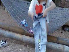 Outdoor clit rubbing of sleek teeenager