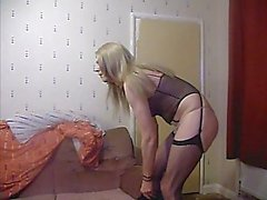 Old Transgender In Stockings Flaunting Rod