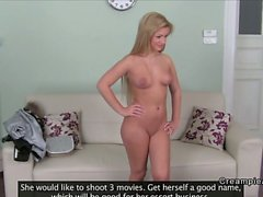 Long haired blonde amateur gets anal creampie on casting