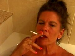 mature smoking bath