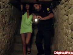 Heeled babe cockriding in cellar