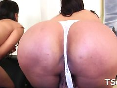 Voluptuous ladyboy like to pose and to expose her goodies