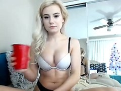 Sexy ass blonde in lingerie does a hot striptease acti