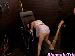 Fetish tgirl has her ass spanked by her master
